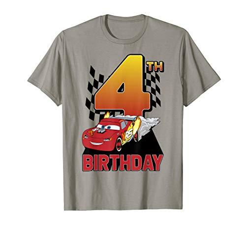 Disney Pixar Cars Lightning McQueen 4th Birthday Peel Out  T-Shirt (Disney Cars Womens)