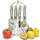 Kitchen Gadget Set -Kitchen Tool Utensil - 8 Kitchenware Accessories-Stailess steel -Utility Cookware Set with Holder -Kitchen Stand,Can Opener,Knife Sharpener,Cake cutter,Whisk,Tea Strainer,Grater