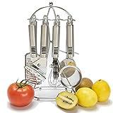 Kitchen Gadget Set -Kitchen Tool Utensil - 8 Kitchenware Accessories-Stailess steel -Utility Cookware Set with Holder -Kitchen Stand,Can Opener,Knife Sharpener,Cake cutter,Whisk,Tea Strainer,Grater