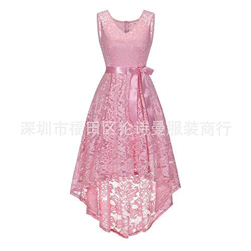 Soirée Couture Sans Pink Jupe Swing V Dentelle élégante Robe Large Manches cou En Rétro SwB8ddqx6