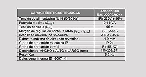 Atlantic 200, Grupo Soldar Inverter+Accs (200A/35%): Amazon.es: Bricolaje y herramientas