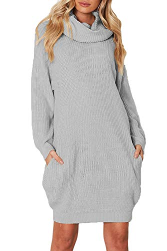 Azokoe 2018 Women Sweater Dress 2018 Winter Casual Loose Chunky Cowl Neck Pullover Cable Knit Sweater Mini Dress Pockets Grey Medium