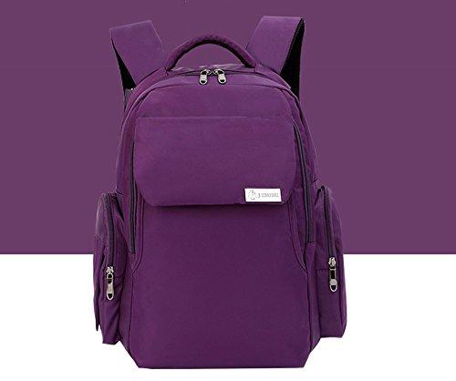 Mummy mochila, multi-funcional de gran capacidad de las mujeres embarazadas que se producen paquete, materna y el niño hombros bolsa, la mano bolsa de la madre ( Color : Blue flowers ) Purple