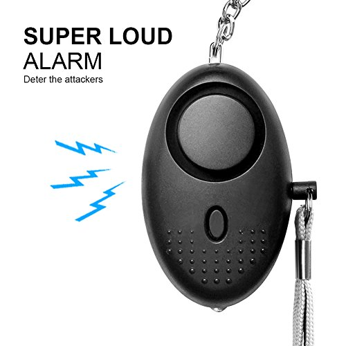 Safesound Personal Emergency Alarm Devices in Black for Kids, Women, Elderly, with Led Light, Keychain, Personal Safety and Self-defence Alarms with Clip, mini led flashlight (Best Self Defence System)