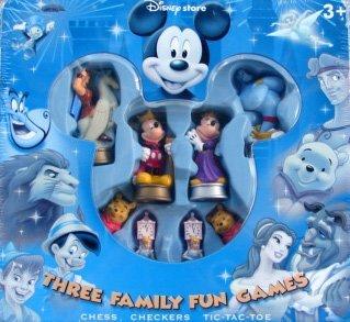 Disney Store Three Family Fun Games Tin-Chess, Checkers, Tic Tac Toe