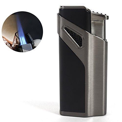 HUOWA Jet Torch Cigar Lighter, 3 Flame Butane Refillable Cigarette Lighter with Cigar Punch ()