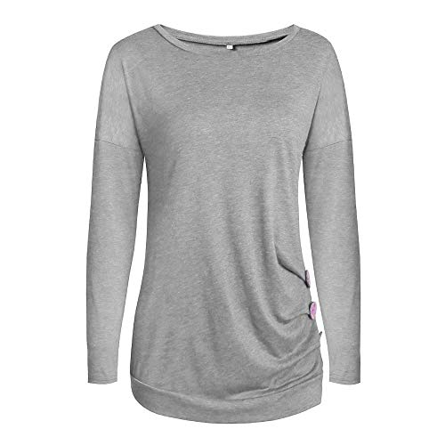 Modo Camicia t Lunghe shirt Tinta A Di Donna camicetta Pullover Unita top Maniche Con Firally Grigio Bottoni Casuale Zxqdd