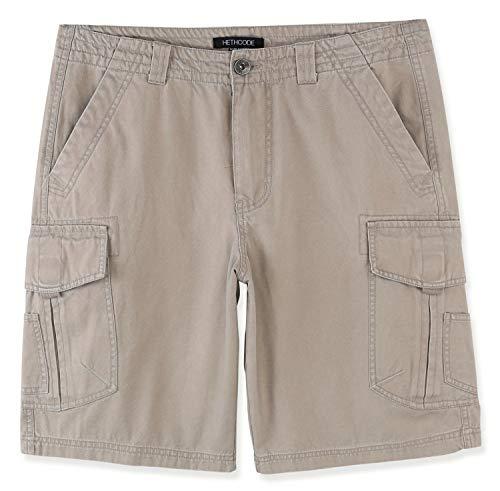 - HETHCODE Mens Authentics Premium Athletic Regular Fit Cotton Canvas Cargo Short Stone 40