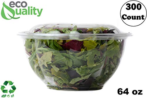 - 64oz Clear Disposable Salad Bowls with Lids (300 Pack) - Clear Plastic Disposable Salad Containers for Lunch To-Go, Salads, Fruits, Airtight, Leak Proof, Fresh, Meal Prep   Rose Bowl Container (64oz)