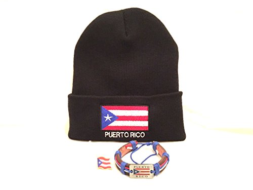 Puerto rico 3pc Knitted hat pack , Puerto Rico wristband & Boricua flag Lapel pin - Rico Wristband