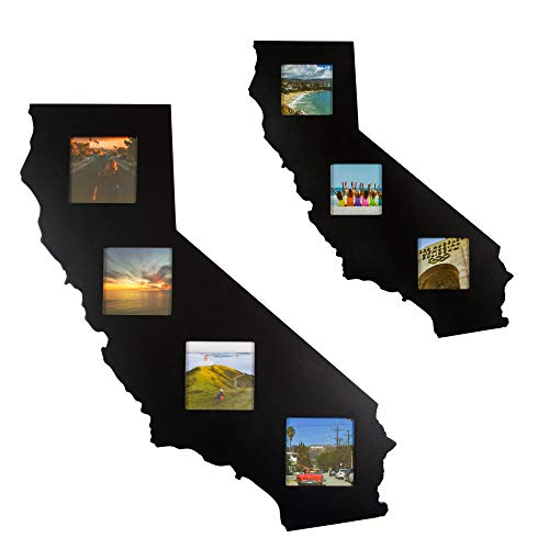 State Your Frame California Gifts State Shaped Recycled Black Wood Wall Hanging Picture Collage Photo Frame - The Perfect Golden State Modern California Decor Gift for The Home - 3 Piece 3x3