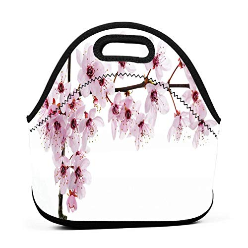 Portable Lunch Bag Tote Sakura Blossom Neoprene Lunch Handbag Food Zipper Storage Lunch Box For Men Women Kids