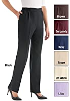 Collections Etc Women's Flat Front Pants Elastic Waistband