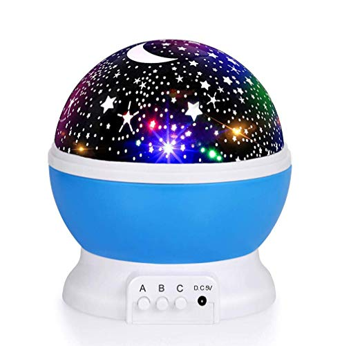 (Luckkid Baby Night Light Moon Star Projector 360 Degree Rotation - 4 LED Bulbs 9 Light Color Changing with USB Cable, Unique Gifts for Men Women Kids Best Baby Gifts)