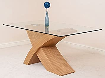 Modern Furniture Direct Valencia Glass And Wood Dining Table, Small, Beige