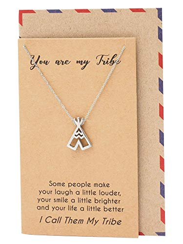 (Quan Jewelry Teepee Pendant Choker Necklace, Gifts for Women, Tribes Jewelry, Gifts for Her, with Inspirational Quote on Greeting Card, Handmade Silver-Tone Jewelry)