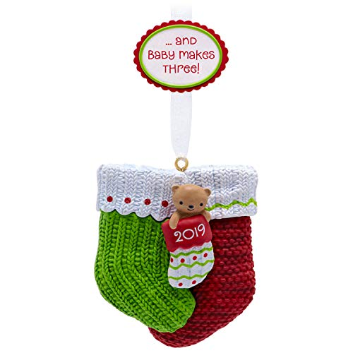 Hallmark Keepsake 2019 Year Dated Baby Makes Three First Christmas Stocking Ornament (Ornament New Parents)
