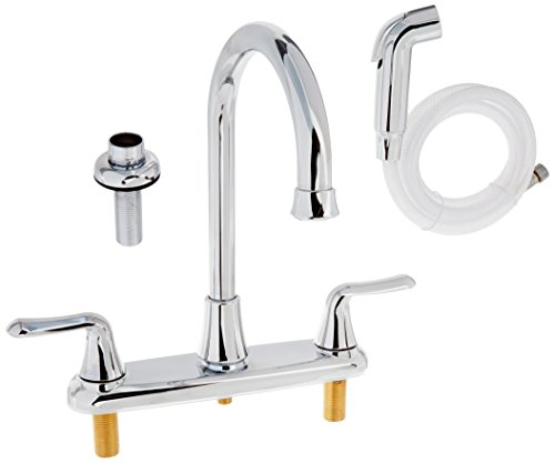 American Standard 4275.551.002 Colony Soft Double-Handle Kitchen Faucet with Brass Gooseneck Spout, Polished Chrome