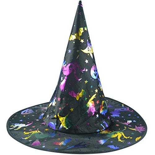 iQKA Adults Halloween Costume Accessory Print Witch Hat Women Men Cosplay Party Cap ()