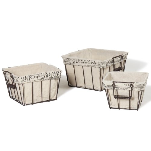 Adeco Multi-Purpose Rectangular Iron Baskets with Folding Handles Home Decor (Set of (Art Deco Iron)