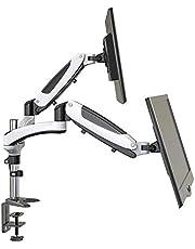 Perlegear Monitor Halterung für 2 Monitore, Schwenkbare Neigbare Drehbare Tischhalterung mit Gasdruckfeder Arm, Bildschirmständer für 15-27 Zoll Monitor, belastbar bis zu 8 kg pro Arm