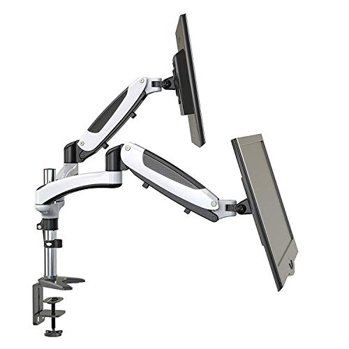 HUANUO  Dual Monitor Mount, Full Motion Monitor Arm Stand, Height Adjustable Computer Monitor Riser with Gas Spring, C Clamp, Cable Management for Two 15 to 27 Inch LCD Screens