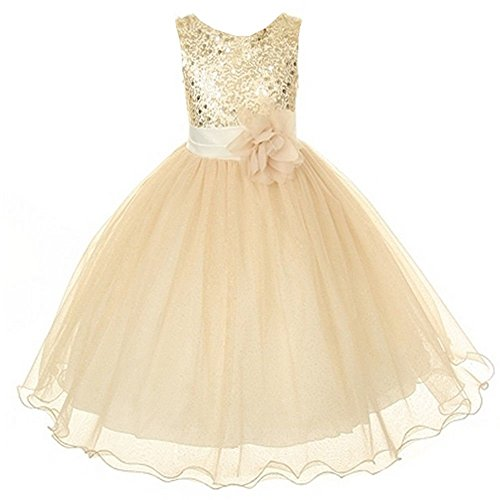 Sparkly Sequined Mesh Flower Girls Dress Pageant Wedding Prom Easter Graduation Gold 2-14