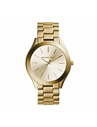 Michael Kors Slim Runway MK3179 Women's Wrist Watches, Gold Dial