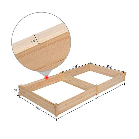 YAHEETECH Wood Raised Garden Bed Boxes Kit Elevated Flower Bed Planter Box for Vegetables Natural Wood 92.3 x 47.4 x 10… 2 BUILD YOUR DREAM GARDEN - This garden bed planter is separated into two growing area for different plants or planting methods. The baffle can be removed to create a bigger growing area if needed. You can get several garden beds to design and build your own dream garden. USEFUL & PRACTICAL - With this helpful planter, you can cultivate plants like vegetable, flowers, herbs in your patio, yard, garden and greenhouse, and make them more convenient to manage. SELECTED MATERIAL - Our raised garden bed is made of no paint, non-toxic fir wood. The boards are only sanded to prevent any undesired injury caused by wood splinters. 1.5cm/ 0.6'' thick solid wood boards are joined and fixed by screws, making it a durable piece for your long-term use.