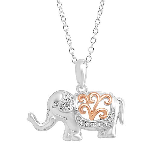 Filigree Elephant Pendant Bracelet with Diamonds in Sterling Silver with Rose Gold Flash