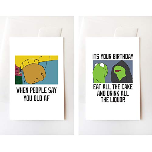- Angry Fist & Evil Frog Meme Birthday Greeting Card Set, Funny, Internet, Memes, Joke