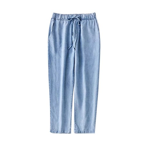 Pantalons en Jeans Bleu t Dcontracts lastique Nouveau Soie Taille 1 Jeans Sarouel 0FqZwf4