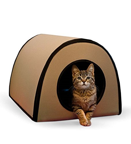Thermo-Kitty Heated Outdoor Cat Hut, in Tan