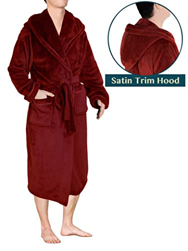 Premium Men Fleece Robe with Hood and Satin Trim | Luxurious Soft Plush Bathrobe