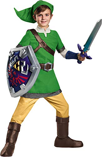 Disguise Boy's Legend of Zelda Link Deluxe Outfit Child Halloween Fancy Costume, Child L (10-12) -