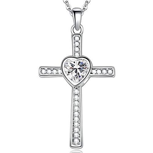 Zircon Cross - Jude Jewelers Stainless Steel Heart Shape Birthstone Cross Pendant Necklace (April-Cubic Zircon)