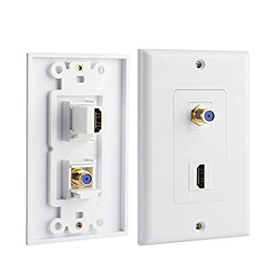 HONGYE Single-port HDMI and F Connector Coaxial Combo Wall Plate Face Cover for Home Theater DVD Cable Satellite TV?White?