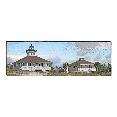 Port Boca Grande Lighthouse Home Decor Art Print on Real Wood (9.5