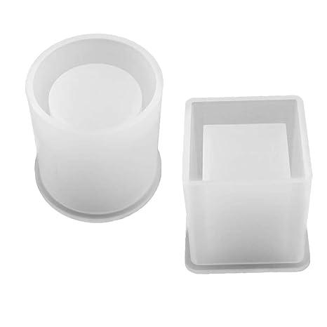 SUPVOX 2 unids Resina Moldes de Silicona Cubo y Cilindro Forma Espejo Cristal Suave Epoxi Pegamento