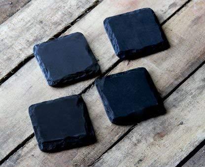 Juego de 4 posavasos cuadrados de pizarra negra natural para ...