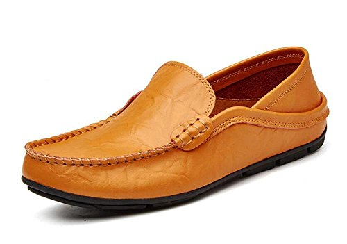 Männer Slip-On Oxford Schuhe Hosen Schuhe Breathable Casual Loafer Leder Schuhe Fahrschuhe Pedal , brown , 44