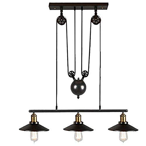 Mini-Chandelier Personality Creative Retro Industrial Wind Chandelier Iron Art Restaurant Bar Clothing Store Lifting Chandelier Flush Mount Ceiling Light ( Color : Main color , Size : 3 lights ) ()