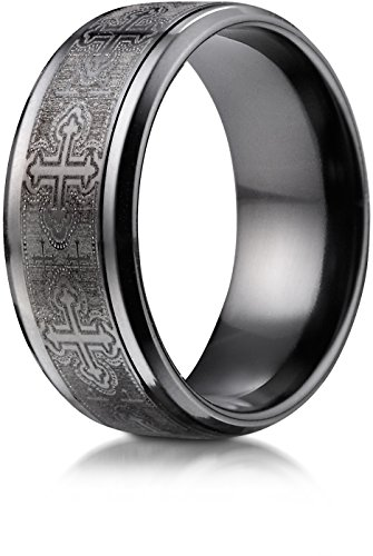Benchmark Ring Wedding Titanium - Benchmark Black Titanium 9 mm Comfort-Fit Cathedral Cross Design Wedding Band Ring, Size 11