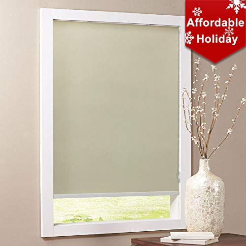 Keego Blackout Bathroom Roller Window Shades, Custom Made Oil Proof Waterproof an-ti UV Kitchen Blinds[Beige 100% Blackout,33″ W x 48″ H(Inch)]