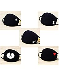 eKoi Black Kawaii Cute Korean Kpop Fashion Soft Comfy Cotton Anti Dust Proof Half Face Mouth Mask Cover for Sick Cough Flu Night Sleeping Winter Outing Adult Youth Kids (5 PCS)