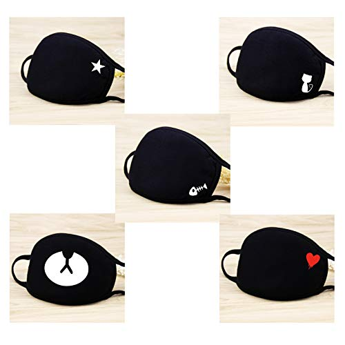 eKoi Kawaii Cute Black Korean Kpop BTS Anime Fashion Soft Comfy Cotton Anti Dust Proof Half Face Mouth Mask Cover for Sick Cough Flu Night Sleeping Winter Outing Adult Youth Kids (5 PC)