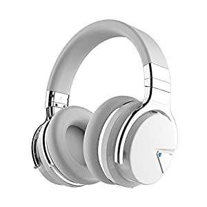 COWIN E7 Active Noise Cancelling Bluetooth Headphones with Microphone Deep Bass Wireless Headphones Over Ear, Comfortable Protein Earpads, 30 Hours Playtime for Travel Work TV Computer IPhone - White