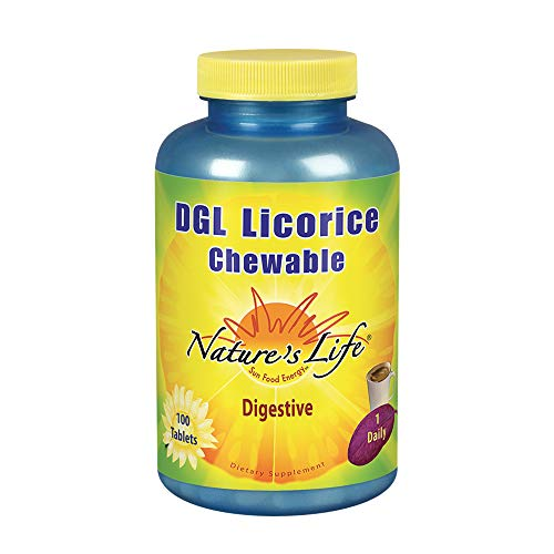Nature's Life DGL Licorice Tablets, 380 Mg, Chewable, 100 Count