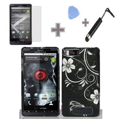 4-Items-Combo-Case-Screen-Protector-Film-Case-Opener-Stylus-Pen-Rubberized-Black-Silver-Vine-Flower-Butterfly-Snap-on-Design-Case-Hard-Case-Skin-Cover-Faceplate-for-Motorola-DROID-X-MB810-Droid-X2-MB8