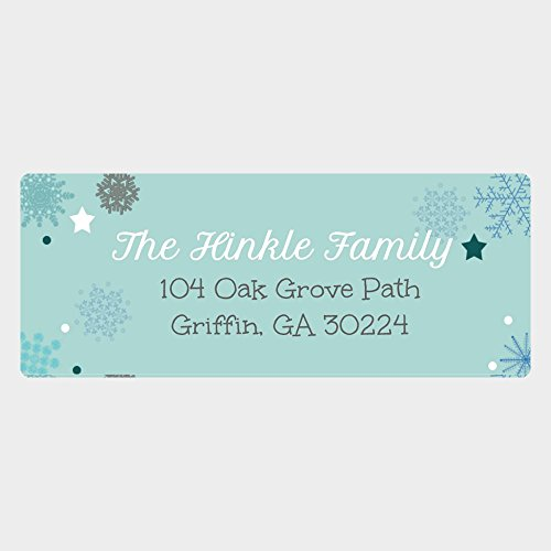 Christmas Envelope Labels (60 Personalized Snowflake Return Address Labels - Christmas Address Labels - Customized Christmas Envelope Labels (RT1))